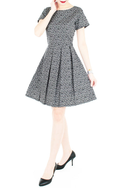 High-Tea Hour Flare Dress with Short Sleeves - Black