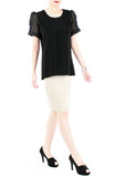 Honeycomb Organza Short Sleeve Blouse - Black