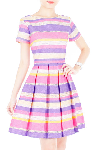 Infused in Watercolour Flare Dress with Short Sleeves - Purple