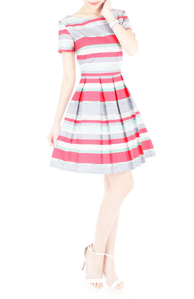 Infused in Watercolour Flare Dress with Short Sleeves - Coral Pink