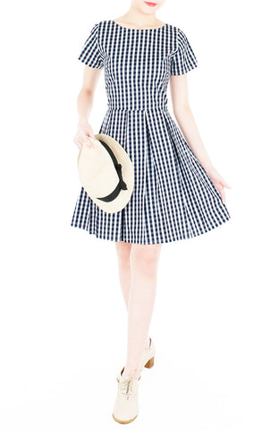 Isle Check It Out Flare Dress with Sleeves - Black