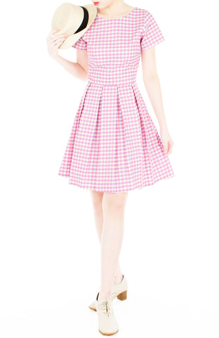 Isle Check It Out Flare Dress with Sleeves - Pink