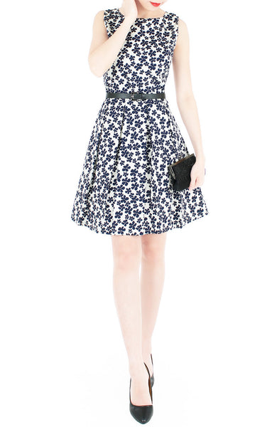 Japanese Anemone Flare Dress - White
