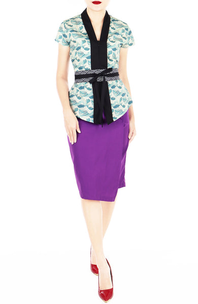 Japanese Ekiyo-e Waves Mei Kebaya Dress with Obi Belt