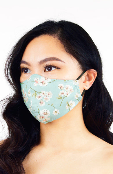 Japanese White Poppies Pure Cotton Face Mask - Crepe Mint