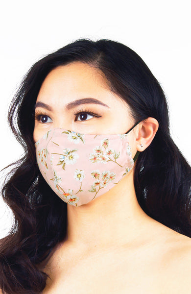 Japanese White Poppies Pure Cotton Face Mask - Crepe Pink