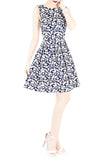 Japanese Fern Blooms Flare Dress - Dark Blue