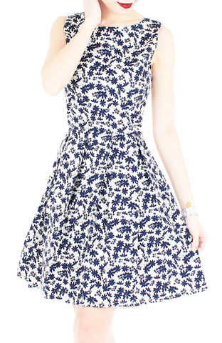 Japanese Fern Blooms Flare Dress – White