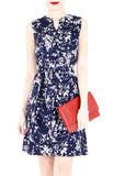 Japanese Plum Blossoms A-Line Button Down Dress - Midnight Blue