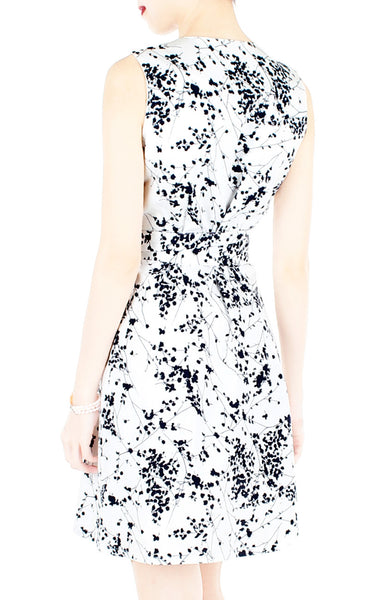 Japanese Plum Blossoms A-Line Button Down Dress - Winter White
