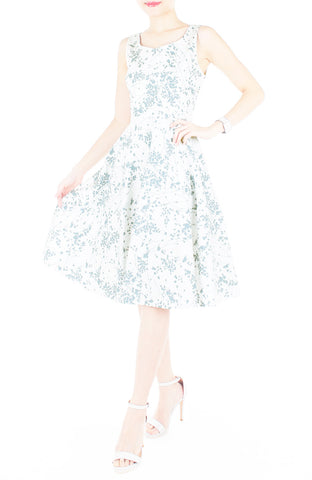 Japanese Plum Blossoms Flare Midi Dress - Winter White