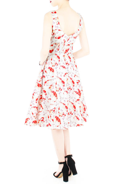 Artful Prosperity Koi Flare Midi Dress - White