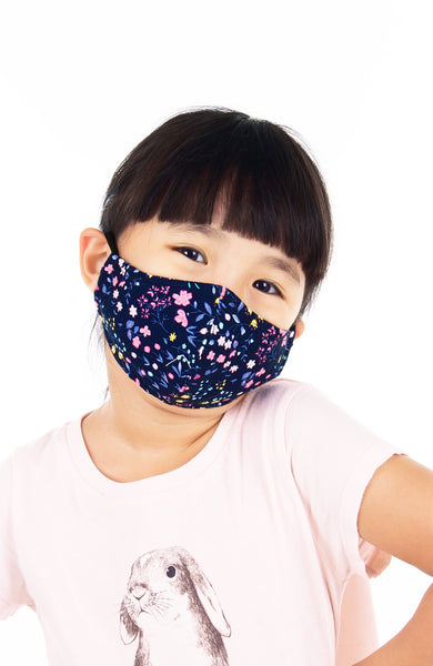 KIDS Dainty Tulip Petals Pure Cotton Face Mask - Navy