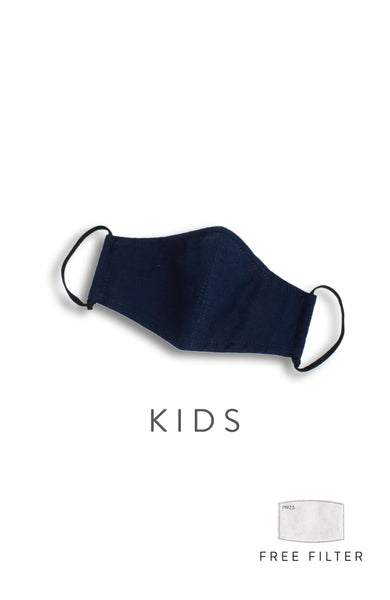 KIDS Essential Pure Cotton Face Mask in Midnight Blue