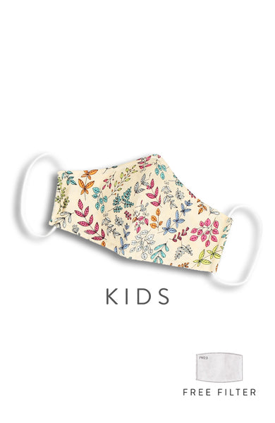 KIDS Ferns Illustrated Pure Cotton Face Mask - Creme