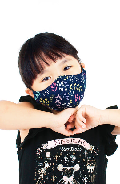KIDS Ferns Illustrated Pure Cotton Face Mask - Midnight Blue