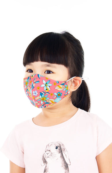KIDS Island Escapade Pure Cotton Face Mask - Coral
