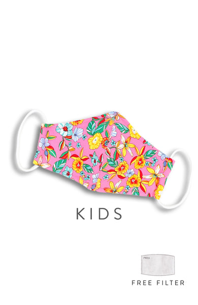 KIDS Island Escapade Pure Cotton Face Mask - Flamingo Pink