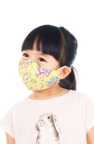 KIDS Magical Wonderland Pure Cotton Face Mask - Sunshine Yellow