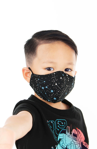 KIDS Moonlight Galaxy Pure Cotton Face Mask - Onyx Black