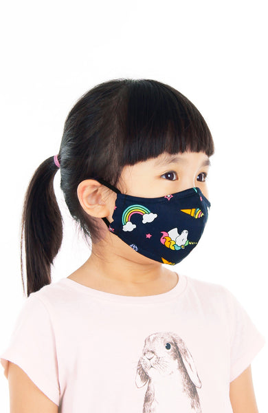 KIDS Rainbow Dreams Pure Cotton Face Mask - Navy