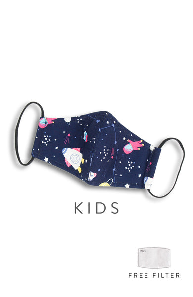 KIDS Space Explorer Pure Cotton Face Mask - Navy