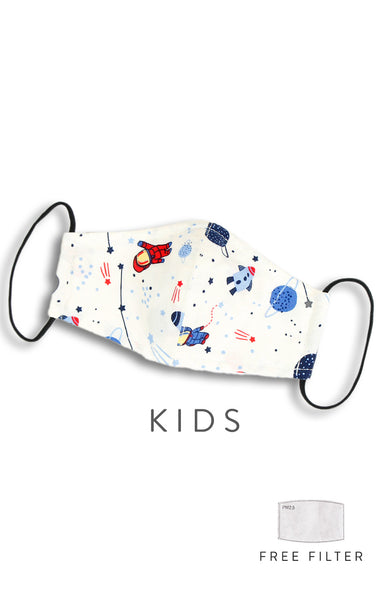 KIDS Space Explorer Pure Cotton Face Mask - Off White