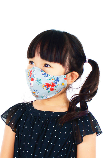 KIDS Winter Blooms Pure Cotton Face Mask - Prelude Grey