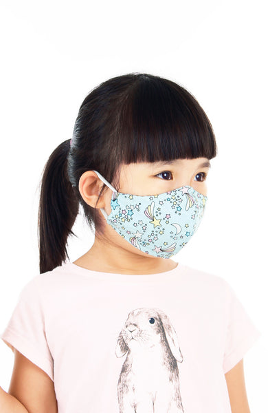 KIDS Wish Upon a Shooting Star Pure Cotton Face Mask - Sky Blue