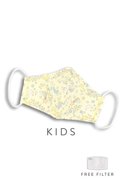 KIDS Wishing Upon A Shooting Star Pure Cotton Face Mask - Pastel Sunlight