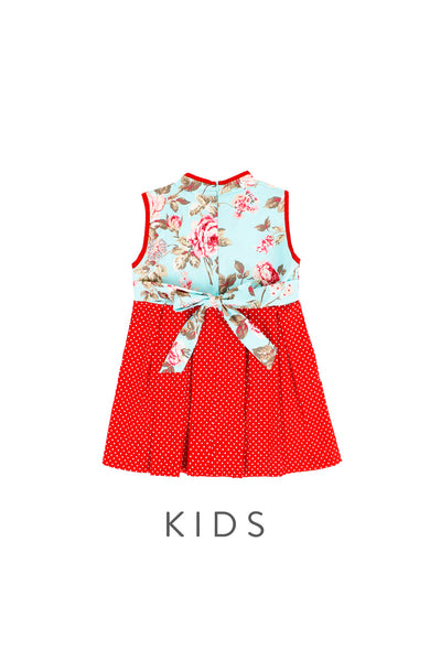 KIDS Ancient Rose Ornament Cheongsam Dress