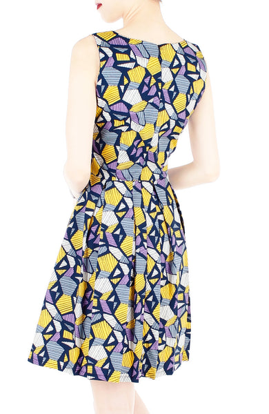 Kaleidoscope Ice Flakes Flare Dress - Night Blue