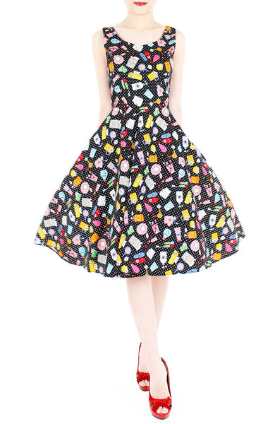 Kawaii Soap Opera Flare Midi Dress - Black