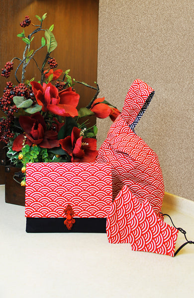 Kyoto Seigaiha Japanese Prosperity Bag in Red - Reversible