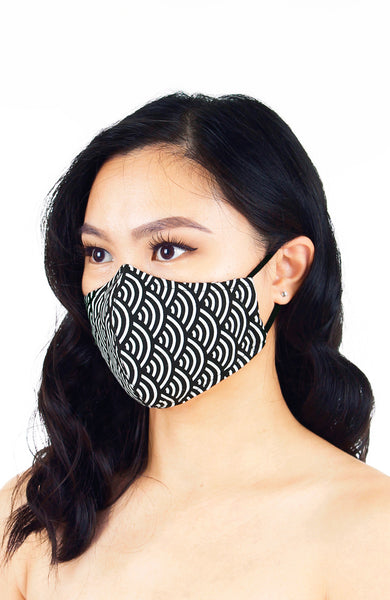 Kyoto Seigaiha Pure Cotton Face Mask - Noir Black