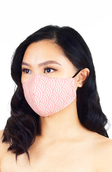 Kyoto Seigaiha Pure Cotton Face Mask - Sakura Pink