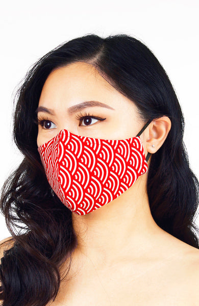 Kyoto Seigaiha Pure Cotton Face Mask in Red