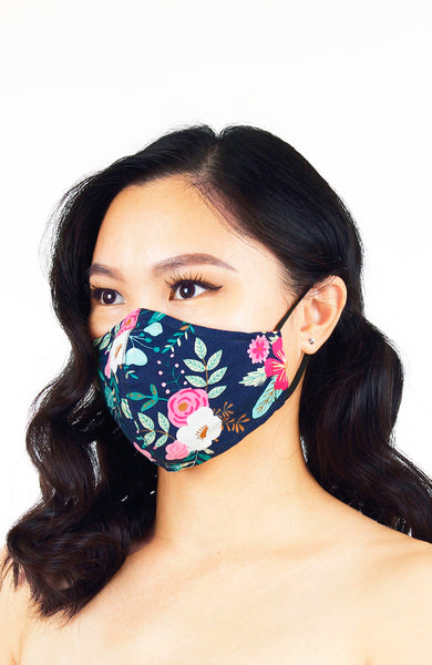 La Vie en Rose Pure Cotton Face Mask - Navy
