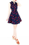 Lady Love Song Flare Dress with Wooden Buttons - Cherry