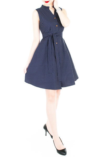 Lady Love Song Flare Dress with Wooden Buttons - Polka Dot Blue