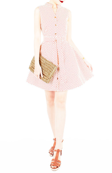 Lady Love Song Flare Dress with Wooden Buttons - Cream