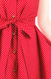 Lady Love Song Flare Dress with Wooden Buttons - Polka Dot Red