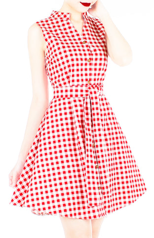 Lady Love Song Flare Dress with Wooden Buttons - Red Check