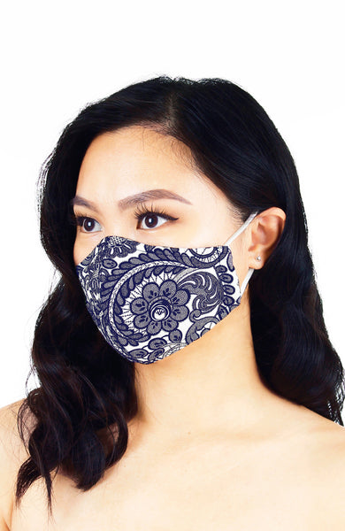 Ladylike Lace Pure Cotton Face Mask - Royal Blue