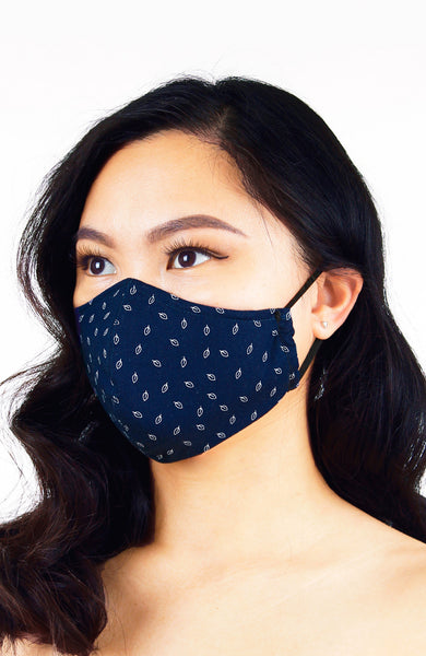 Leaf it to Luck Pure Cotton Face Mask - Navy Blue