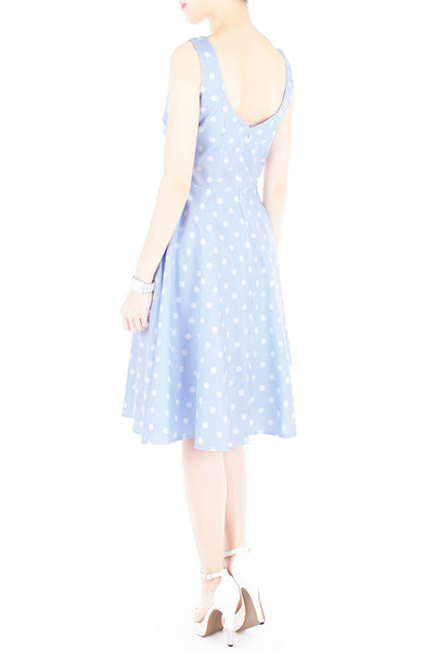 'Let's Do The Polka' Flare Midi Dress - Baby Blue
