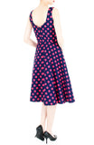 'Let's Do The Polka' Flare Midi Dress – Midnight Blue