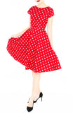 'Let's Do The Polka' Flare Tea Dress - Red