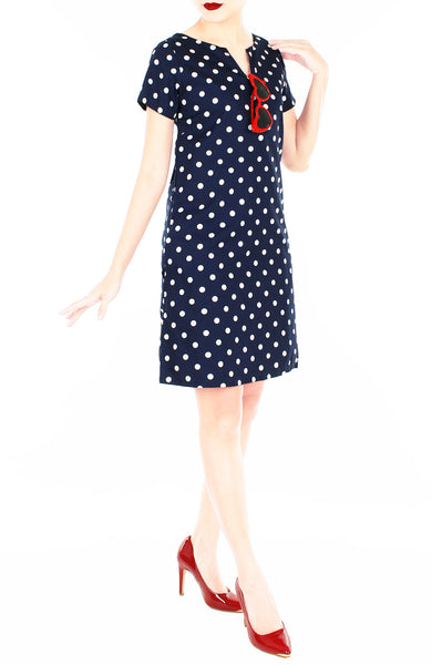 'Let's Do The Polka' Lily Shift Dress - Midnight Blue