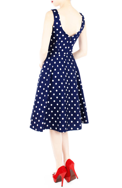 'Let's Do The Polka' Flare Midi Dress - Admiral Blue